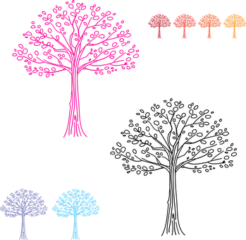 Trees, Bigger, Smaller, Different, Sizes, Colorful