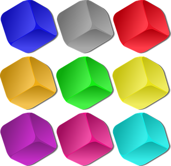Cubes, Colorful, Marbles, Objects, Squares, Side