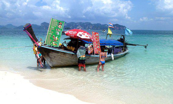Thailand, Longtail Boat, Ice Cream Shop, Boat, Seller