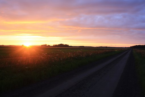 High Summer, Night, Sunset, Road, Twilight, Countryside