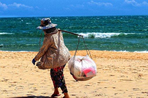 Vietnam, Beach, Woman, Wear, Bear