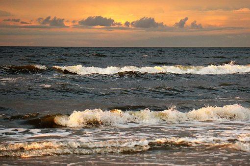 Sea, The Waves, Sky, West, Evening, Spacer, Beach