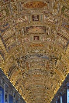 Rome, Museum, Vatican, Ceiling, Decoration, Doré, Italy