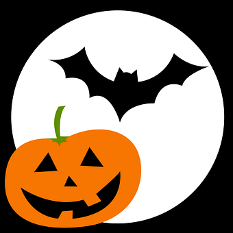 Bat, Pumpkin, Face, Luna, Halloween