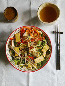 Tofu, Salad, Vegan, Healthy, Oriental, Bowl, Chopsticks