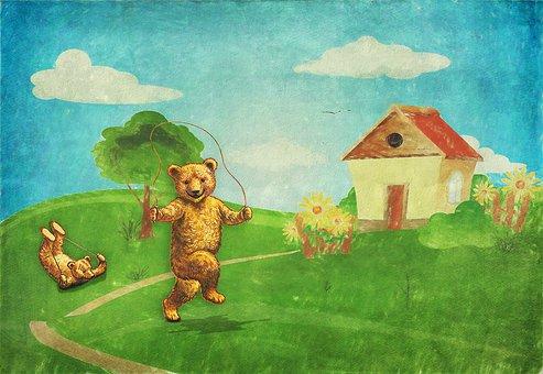Teddy Bears, Landscape, House, Garden, Tree, Rope, Jump