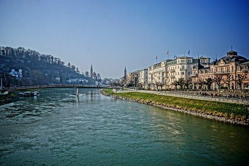 Salzburg, Salzach, Austria, River, City