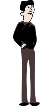 Man, Anxious, Standing, Cartoon, Male