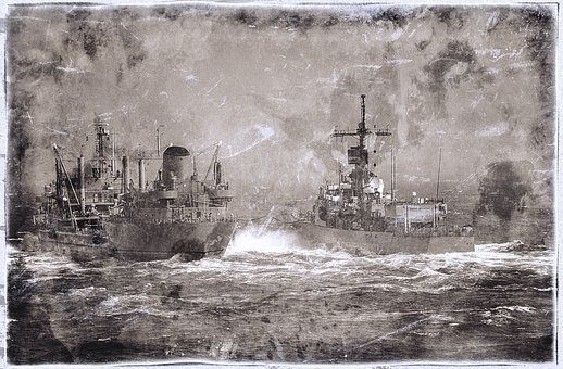 War Ship, Battle, Ocean, Water