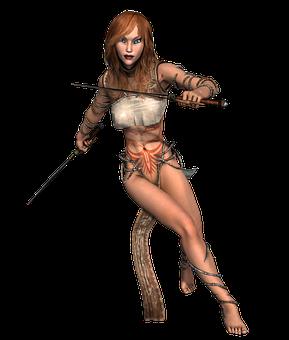 Girl, Armor, Warrior, Weapon, Strong