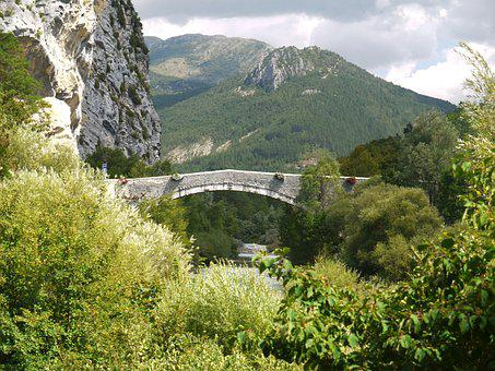 Old, Stone Bridge, 15 Century, Castellane, Verdon