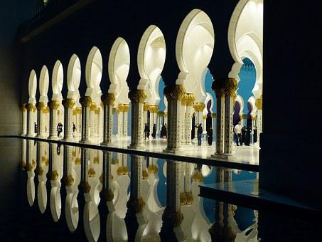Great Mosque, Abu Dhabi, Emirates, Reflection, Mosque