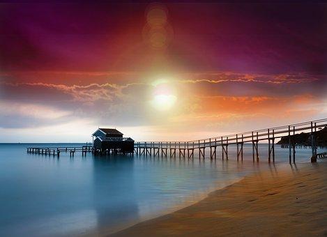 Beach Sunset, Sand, Sunrise, Dusk, Port Dallhouse, Shoe