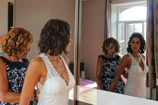 Wedding, Bride, Mom, Reflection, Mirror