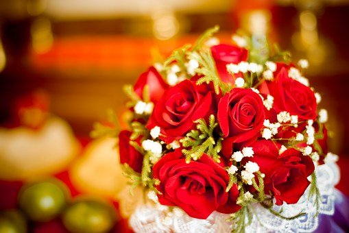 Flowers, Wedding, Rose, Candle, Large Aperture