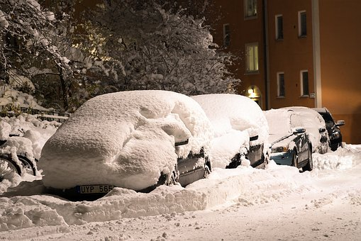 Snow, Street, Cars, Covered, Deep, Winter, Cold, Heavy