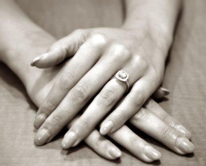 Hands, Ring, Engagement, Fingernails