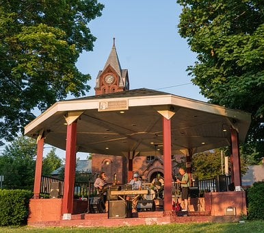 Vermont, St Albans, Gazebo, Band, People, Person