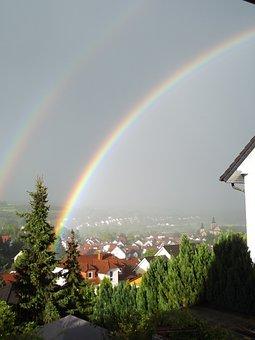 Rainbow, Sky, Landscape, Natural Phenomenon