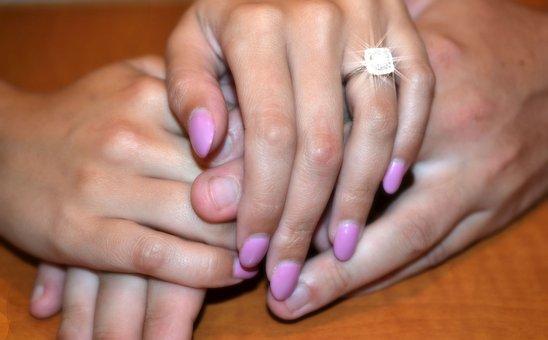 Hands, Ring, Engagement, Fingernails, Love