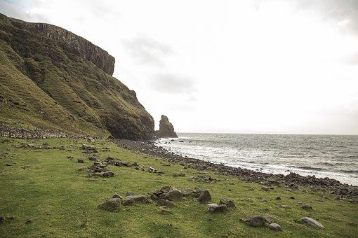 Bay, Beach, Rocky, Cliffs, Green, Grass, Sea, Ocean
