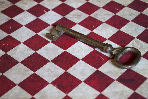 Key, Pattern, Diamonds, Red, White, Old, Old Fashioned