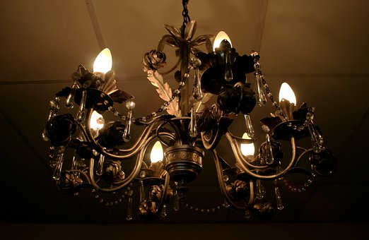 Chandelier, Metal, Ornate, Light, Hanging, Light Bulbs