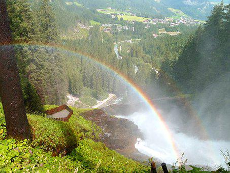 Waterfall, Rainbow, Nature, Landscape, Krimml Waterfall