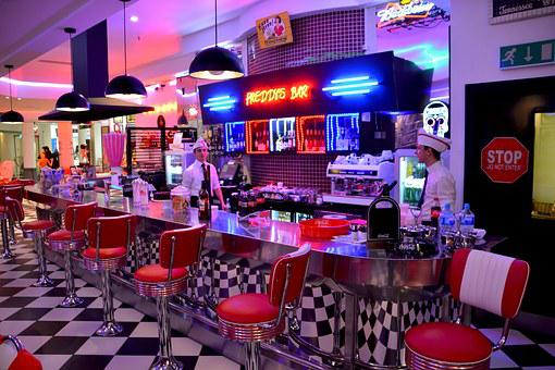 American Diner, Red Chairs, Cafe, Restaurant, Red