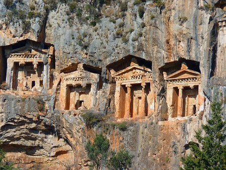 Rock Tombs, Temple, Columnar, Caves Buildings, Rock