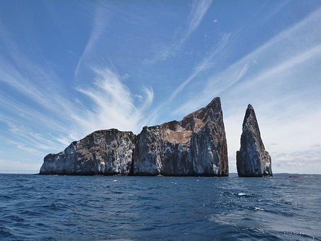 Leon Dormido, Galapagos, Stone, Rock, Stunning, Sky