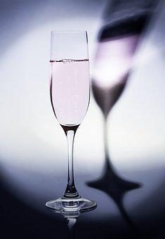 Champagne, Shadow, Light, Glass, Drinking Cup, Purple