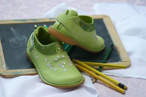 Children's Shoes, Board, Pens, School, Paint, Shoes