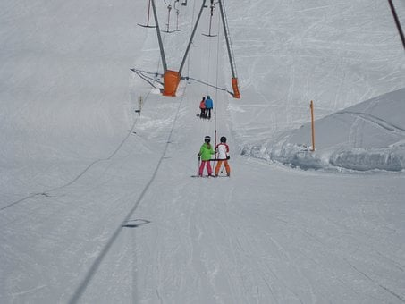 Ski Lift, Children, Snow, Skiing, People, Skier, Sport