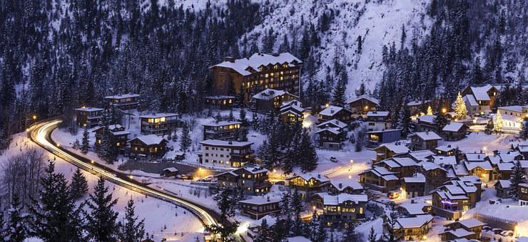 Courchevel, Mountain, Snow, Winter, Ski, Night, Alps