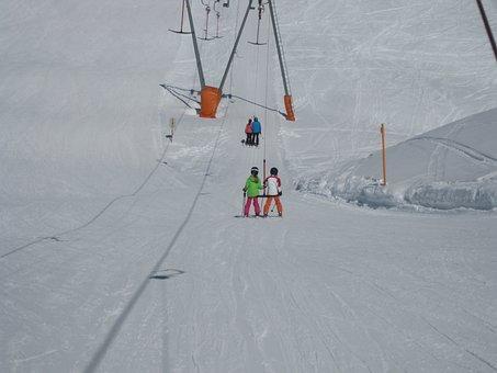 Ski Lift, Children, Snow, Skiing, People, Skier, Sport