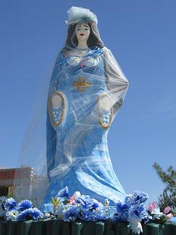 Yemanja, Orisha, Umbanda, Statue, Woman, Blue, Dress