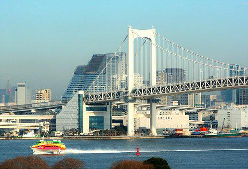 Rainbow Bridge, Bridge, Suspension Bridge, Tokyo Bay