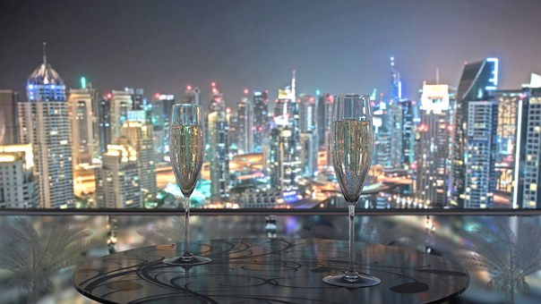 United Arab Emirates, Dubai, Champagne, Skyline