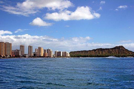 Hawaii, Diamond Head, Honolulu, Oahu, Waikiki, Beach