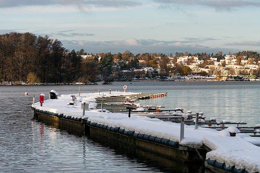 Winter, Pier, Water, Nature, Landscape, Snow, Lake, Sky