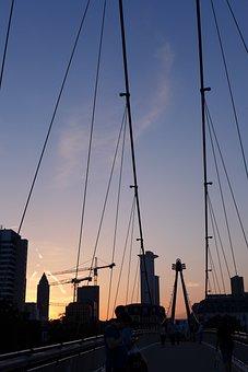 Frankfurt, Abendstimmung, Bridge, Sunset, Big City