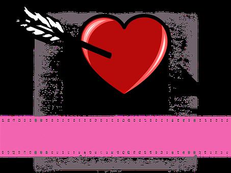 Valentine, Heart, Arrow, Drill Through, Symbol, Shiny