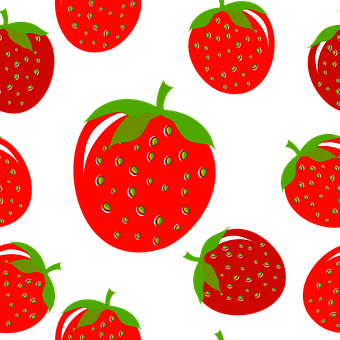 Seamless Pattern, Strawberries, Fruit, Strawberry