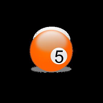 Billiard Ball, Billiards, Play, Number Five, Five
