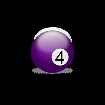Billiard Ball, Billiards, Play, Number Four, Four