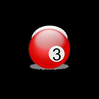 Billiard Ball, Billiards, Play, Number Three, Three