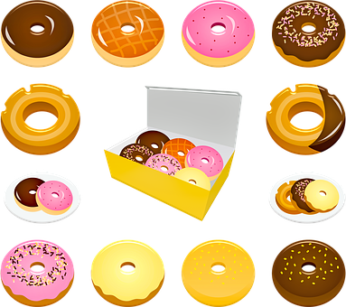 Donuts, Chocolate, Pink, Dessert