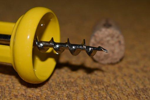 Corkscrew, Wine, Cork, Metal, View, Items, Objects