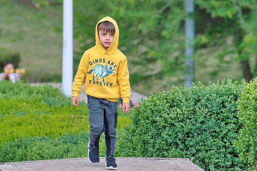 Child, Little Boy, Hooded Sweatshirt, The Hood, Yellow
